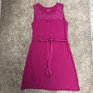 Merona pink midi dress with belt 20/22